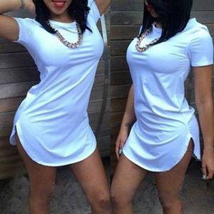 Plus Size Tee Shirt Mini Dress - Short Sleeved / R